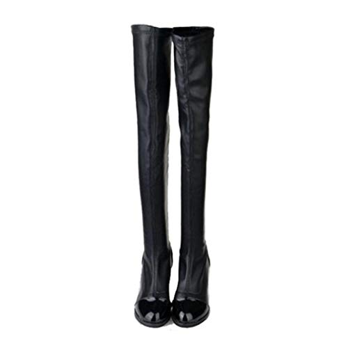 Womens Over-De-knie hoge hakken laarzen lederen dikke hakken stijlvolle winter pluche warme partij bruiloft dij hoge hakken laarzen