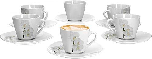 Vanda weiße Orchidee Set von 6 Kaffeetassen und UntertassenKaffee-SetBlumendekorationelegantes Porzellan