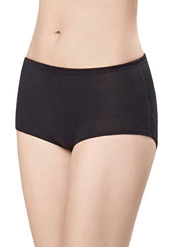 UTENOS 100% Merinowolle Damen Grundschicht Unterhose (Black, M)