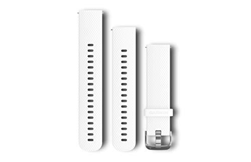 Garmin - Bracelet de montre 20mm Silicone Blanc, Boucle Silver - S/M & L
