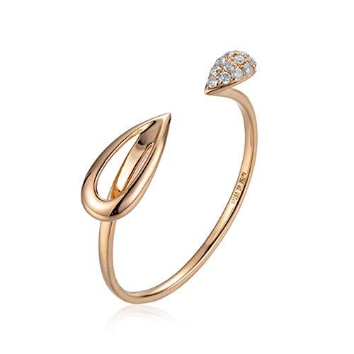Epinki Mujer 18K Oro Rosa Anillo 0.052ct Diamante Redonda Anillo Ajustable Anillo Clásico de Boda Compromiso