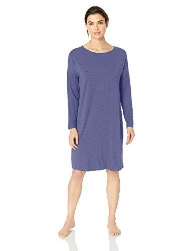 Hanro Damen Natural Elegance Long Sleeve Gown Nachthemd, Ocean Melange, X-Small