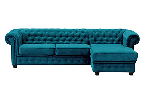 Imperial, Chesterfield Style, Corner, Sofa, Sofa Bed, 2 seat, 3 seat, Pouf, (Corner Right, Ocean)