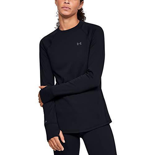 Under Armour Women's Base Crew 2.0, Black (001)/Pitch Gray, Large