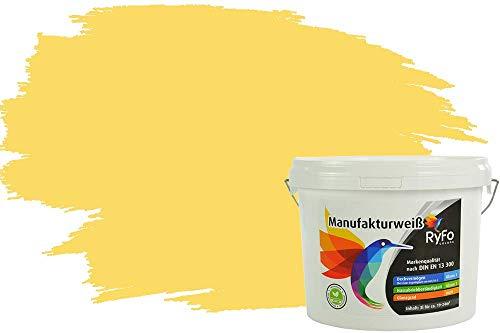 RyFo Colors Bunte Wandfarbe Manufakturweiß Zitronengelb 3l - weitere Gelb Farbtöne und Größen erhältlich, Deckkraft Klasse 1, Nassabrieb Klasse 1
