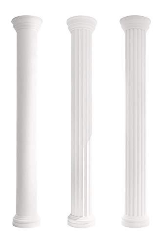 Kapitell für Halbsäulen   harte Acryl Außenschicht   Fassade   Barock   Außendekor   Stuck   weiß   EPS   190 x 380 mm   LC101-H