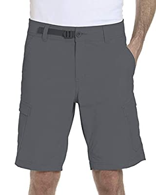 ZeroXposur Mens Stretch Cargo Shorts 6 Pocket Venture Flat Front Woven Hiking Shorts for Men (38, Slate)