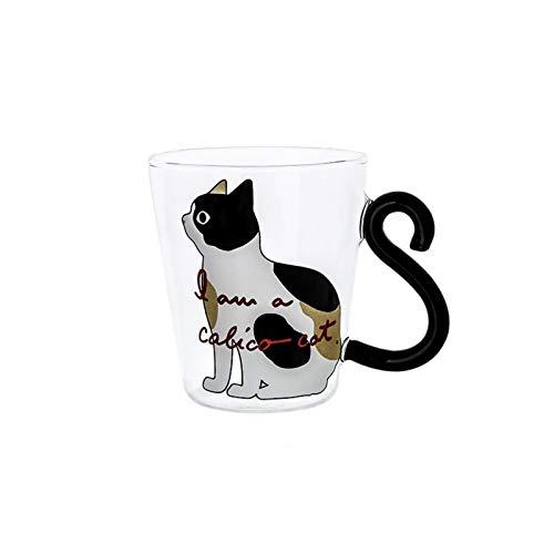 ZZLLFF Café Leche té Vidrio Taza de Agua Dibujos Animados Creativo Lindo Gato Taza Rojo Vino Cerveza Champagne Gafas Botella Reutilizable (Capacity : 300ML, Color : White Cat Cup)