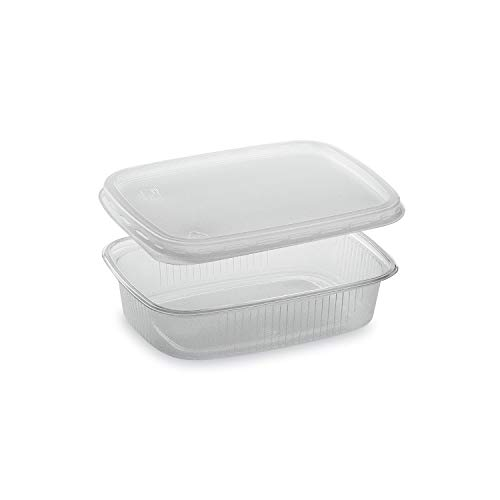 LogiPack GeRo Feinkostbecher mit Deckel 150ml eckig Verpackungsbecher Salatbecher Salatschale Verpack-Becher Polypropylen (PP) (1000)