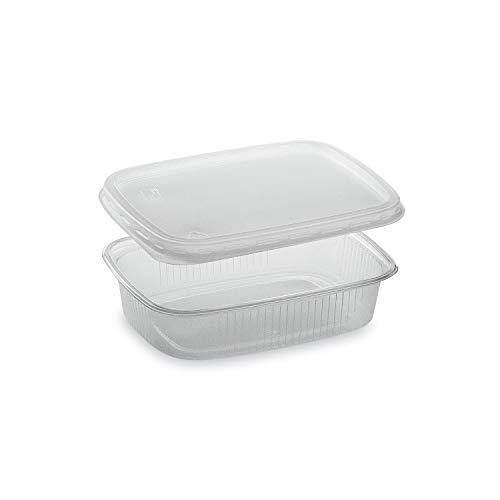 LogiPack GeRo Feinkostbecher mit Deckel 150ml eckig Verpackungsbecher Salatbecher Salatschale Verpack-Becher Polypropylen (PP) (250)