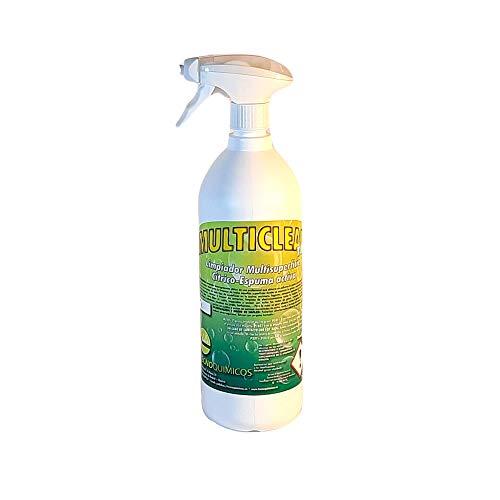 MULTICLEAN Potente Limpiador Desengrasante Multisuperficies en Spray con Espuma-Activa. Todo tipo de grasa y suciedad incluso en la ropa. Aroma cítrico (1 envase de 1L)