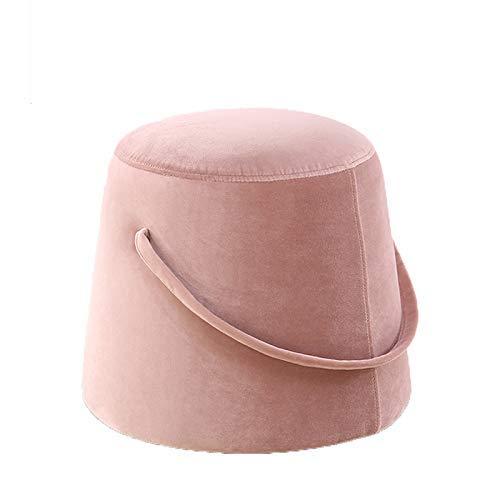 FSYGZJ Taburete de bambú Taburete de Trabajo Taburete de Tela para el hogar Sofá portátil Cambio de Puerta Zapatos Taburete para pies Multifunción Hogar Creativo (Color: Pink, Size: Large)