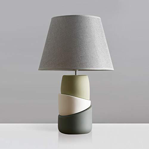 KGDC lámpara de mesita de Noche Nordic Tabla Dormitorio de la lámpara de cabecera de la lámpara de cerámica botón del Interruptor de cabecera Lámpara de Mesa + teledirigido lámpara Decorativa