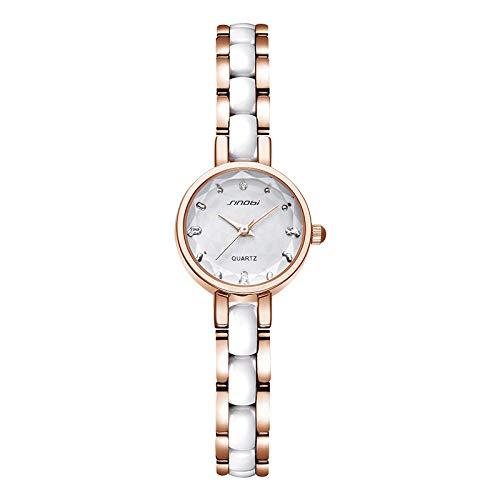 SANDA Relojes Mujer,Pulsera para Mujer Reloj con Esfera pequeña Reloj Elegante y Exquisito para Mujer Resistente al Agua-Blanco