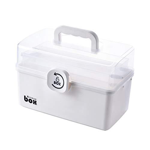 34 X 19 X 22,5 cm 3 Tiers Folding Tragbare große Kapazitäts-Medizin-Kasten Erste-Hilfe-Kit-Medizin-Speicher-Behälter-Kasten-Weiß Blau L (Farbe : White)
