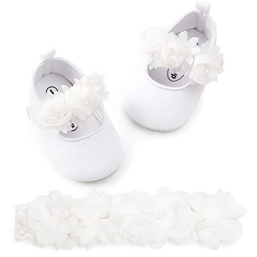 Zapatos de Princesa Bebe Niñas + Diadema de Flores Set, Bebe Recién Nacido Niñas Zapatos De Cuna Suave Suela Zapatillas De Deporte Prewalker Antideslizante Primeros Pasos Zapatos de Bautizo