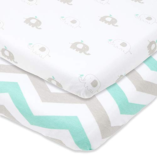 Joey + Joan Pack and Play Sheets Fitted – Compatible with 4moms Playard, New Breeze Go, Classic and Plus Models – Fits 28 x 40 Mattress Without Bunching – Grey, Mint –2 Pack