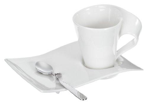 Villeroy & Boch - NewWave Cappuccino-Set 6 tlg., Kaffeetasse, Untertasse aus Premium Porzellan, Edelstahllöffel, für 2 Personen, spülmaschinenfest