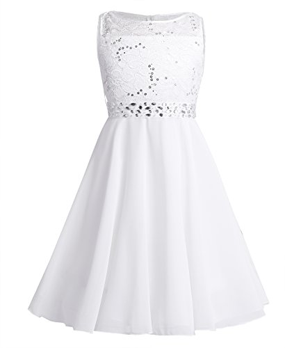 TiaoBug Festlich Mädchen Kleid für Kinder Prinzessin Spitzen Kleider Hochzeit Blumenmädchenkleid 92 104 116 128 140 152 164 Elfenbein 140