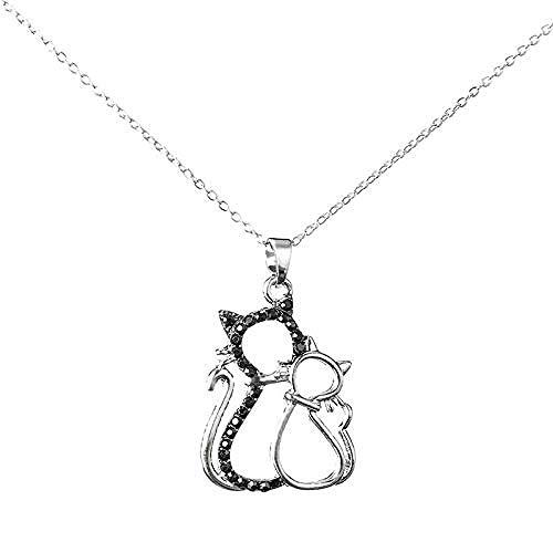 CAISHENY Collar con Personalidad de Diamantes de imitación, Collares con Colgante de Gato Hueco para Mujer y niñas, Collar de Animal de Gato Blanco y Negro de Moda