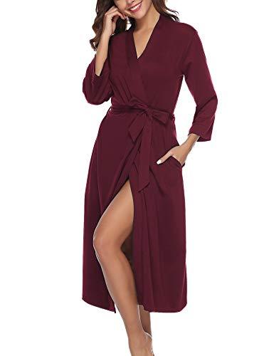 Abollria Bata para Mujer Algodón con Escote en V Albornoz de Kimono de Mujer Ropa de Dormir con Cinturón (XXL, Vino Rojo)