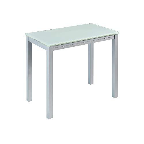 MOMMA HOME Mesa de Cocina Extensible - Modelo Londres - Color Blanco/Plata - Material Cristal Templado/Metal - Medidas 95 x 55/95 x 76 c