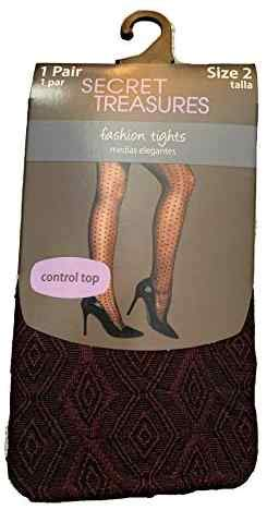 Women's Control Top Diamond Lace Fish Net Pantyhose Tights (1)
