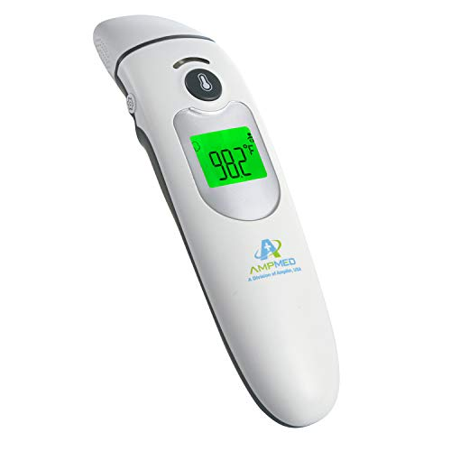 Amplim Contact/Non Contact Digital Forehead Thermometer for Adults and Baby, Medical Grade Touch Fever Temperature Ear Thermometer, 2001F1, Silver White