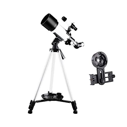 Telescopio para adultos, principiantes, niños, 70 mm de apertura, 400 mm, telescopio astronómico refractor BAK4, prisma, telescopio de lente FMC para astronomía, con adaptador para teléfono inteli