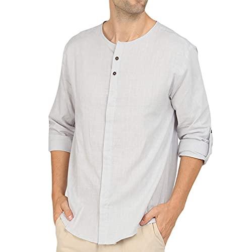SSBZYES Camisetas para Hombre, Camisetas de Manga Larga con Cuello Redondo para Hombre, Camisas de algodón y Lino para Hombre, Camisas de Fondo, Tops Casuales para Hombre, Camisas de Manga Larga