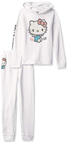 Hello Kitty Mädchen Hooded Fleece Sweatshirt and Jogger Pant Jogginganzug, Bright White, 6X