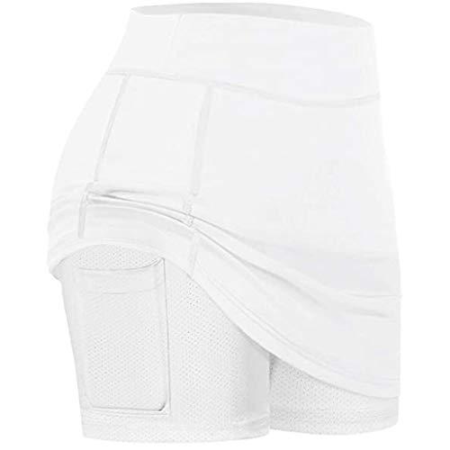 Damen Tennis Skirts Sport-Hosen/Skort Athletic Leichtgewichts Lauftennis Golf Workout Sportrock Elastic Sports Yoga Angenehm Weiche Elastic Sports Leggings mit Taschen