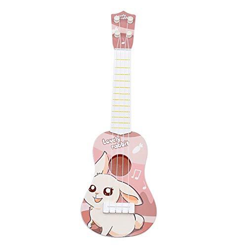 ギター 子供用 おもちゃ ウクレレ こども用 4弦 初心者 楽器玩具 知育玩具 かわいい ミニギター 18カラー (ピンクバニー)