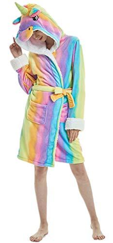 Re-MissErwachsenen Tier Cartoon Einhorn Panda Flusspferd Bademantel Flanell Fleece Kapuze Halloween Weihnachten Karneval Cosplay Robe , Mehrfarbig Unicorn Rainbow, L für Höhe 165cm-175cm