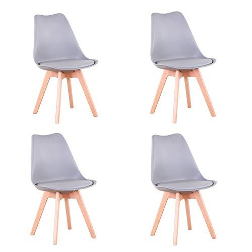 Uderkiny Conjunto de 4/6 sillas Sillas de Comedor con Cojines y Patas de Haya aptas para Comedor salón Cocina Oficina, etc (Gris-4)
