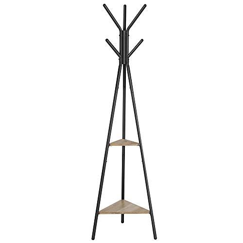VASAGLE Garderobenständer in Baumform, Kleiderständer, freistehende Garderobe, Industrie-Design, mit 2 Ablagen, für Kleidung, Hüte, Taschen, Greige-schwarz RCR016B02