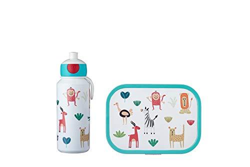 Mepal Pausenset Campus Animal Friends – Trinkflasche und Brotdose mit Bento-Einsatz – ideal für Schule und Freizeit – spülmaschinenfest, ABS, 0 mm, 2