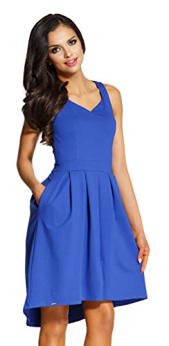 Lemoniade Elegantes Sommerkleid mit raffinierten Schnitten und in vielen Farben Made in EU, Modell 2 Blau, Gr. S (34/36)