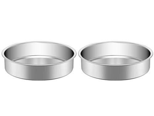 Stainless Steel Cake Pan Set 2, HKJ Chef Cake Pan & Round Baking Cake Pans Set, For Baking Steaming Serving, Healthy & Sturdy, Easy Clean & Dishwasher Safe & Set of 2, Size of 10inch