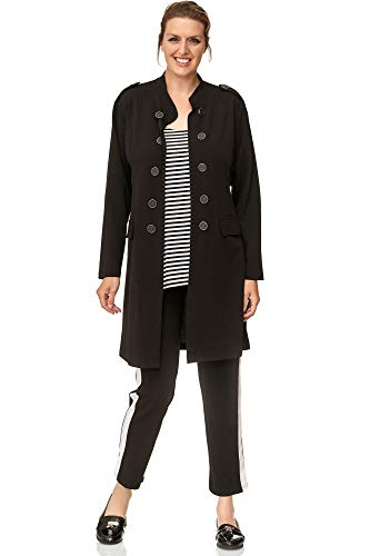 Magna - Elegante Damen Oversize-Jacke mit stylischen Details Jacke Longjacke Gehrock XXL Farbe schwarz, Größe 44 / 46