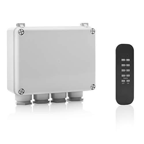 Smartwares SH5-SET-OB SmartHome Funk-Dreifachschalter für Geräte bis 400 Watt mit Fernbedienung 4-Kanal für den Außenbereich, IP55, Schwarz