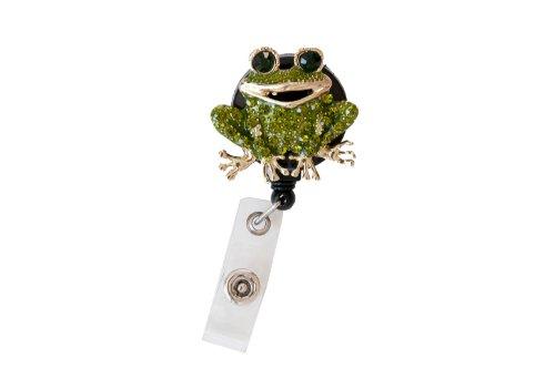 New Custom Bling Rhinestone 3D Animal Badge Reels/Retractable ID Badge Holders/ID Badge Pull Reels (3D Green Frog)