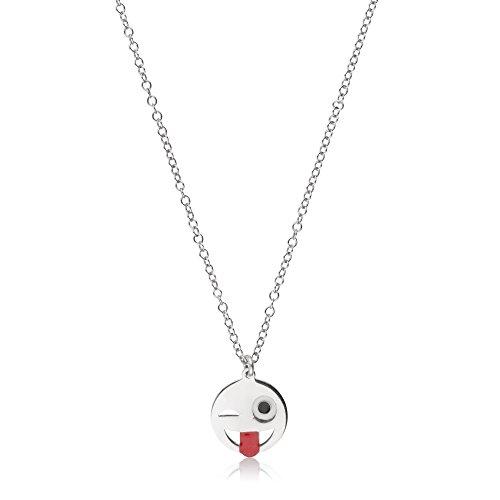 Córdoba Jewels | Gargantilla en Plata de Ley 925. Diseño Emoticono Guiño Esmaltado