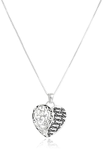 Sterling Silver Love Mother and Son Forever Heart Pendant Necklace