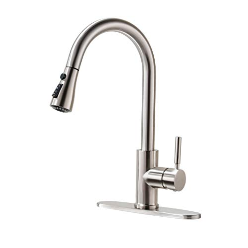 Kitchen Faucet, Kitchen Sink Faucet, Sink Faucet, Pull-Down Kitchen Faucets, Bar Kitchen Faucet, Brushed Nickel, Stainless Steel, RULIA PB1020