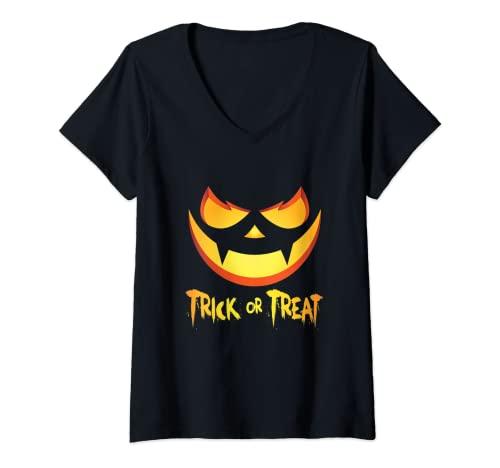 Mujer Feliz Halloween calabazas terrorficas Camiseta Cuello V