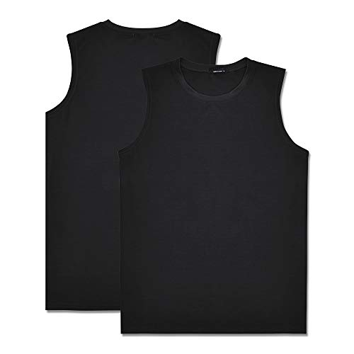 IsFashion 2Pcs Workout Tank Tops for Men, Gym Muscle Tee Fitness Bodybuilding Sleeveless T Shirts Black