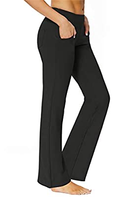 SERHOM Bootcut Yoga Pants with Pockets for Women High Waist Soft Workout Flared Bootleg Yoga Pants Leggings,Black M