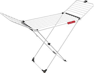 Vileda Extra X-legs - Tendedero de acero y aluminio, con alas plegables, 20 metros de espacio de tendido, con soporte para artículos pequeños, Blanco, dimensiones abierto 173 x 56 x 93 cm