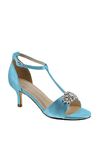 David's Bridal Satin T-Strap Sandals with Crystal Embellishment Style Ophelia, Pool, 5